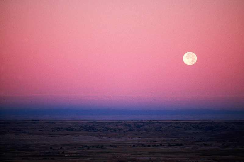 Moonset Badlands South Dakota